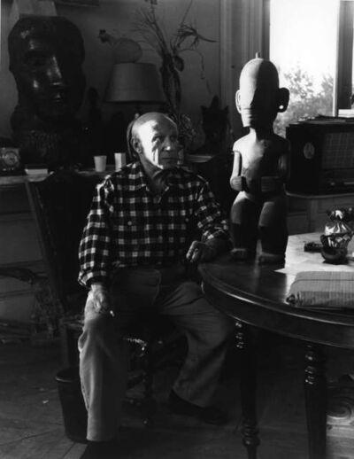 """Lucien Clergue, 'Picasso et le buste de Dora Maar et la statue des Iles Marquises a """"La Californie,"""" Cannes', 1955"""