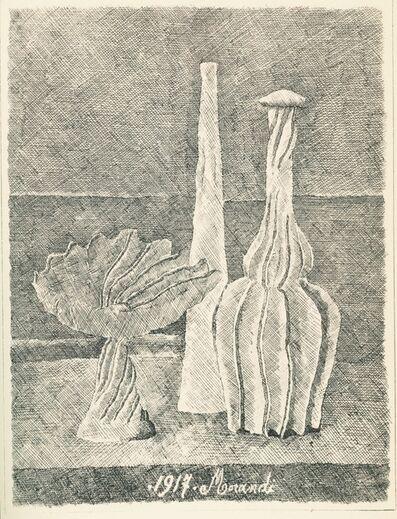 Giorgio Morandi, 'Natura morta con compostiera, bottiglia lunga e bottiglia scannellata', 1928