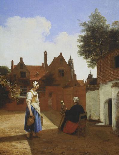 Pieter de Hooch, 'A Courtyard in Delft at Evening: a Woman Spinning', 1657