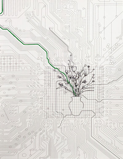 Analía Saban, 'Bouquet of Flowers within Circuit Board (with Green Line)', 2014