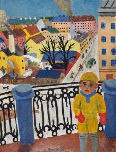 Bror Hjorth, 'Utsikt över Skånegatan - Ole på balkongen', 1932