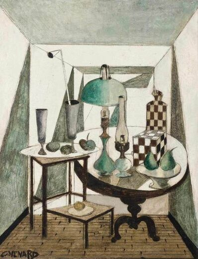 Claude Venard, 'Table Top Still Life with Oil Lamps, Fruit and Vases'