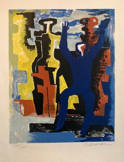 Ossip Zadkine, 'Large Cubist Color French Lithograph Zadkine Figures Les messagers du jour', 1950-1959