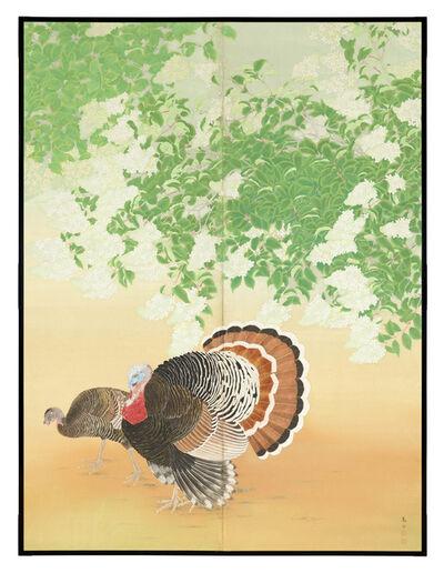 Tesshu Okajima, 'Folding Screen, Turkeys and Hydrangea (T-4342)', Showa era (1926–89)-circa 1930