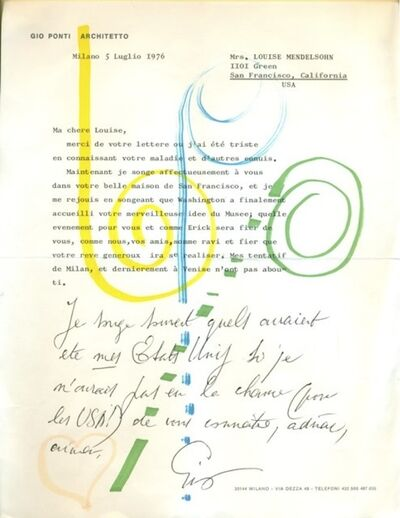 Gio Ponti, 'Handwritten letter to Louise Mendelsohn', 5 July 1976