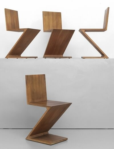 Gerrit Thomas Rietveld, 'Four chairs 'Zig Zag' drawing 1934 production CASSINA', 1972