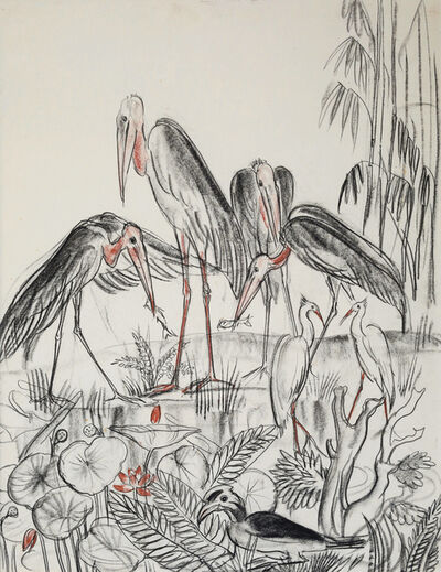 André Maire, 'Leptoptilos, Grey Herons and Great Hornbill', 1948-1958