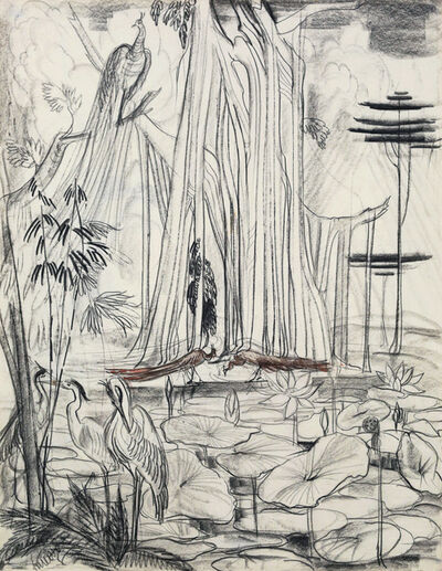André Maire, 'Grey Herons, green peafowls and water lilies'