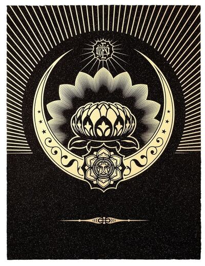 Shepard Fairey, 'Obey Lotus Crescent (Black & Gold)', 2013