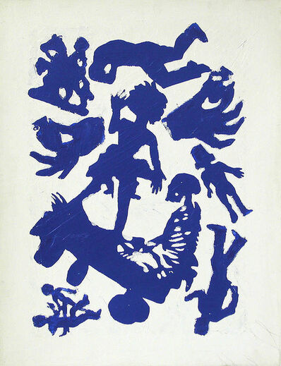 Viola Frey, 'Untitled (Blue Stencils of Woman and Skeleton on Cart)', 1980