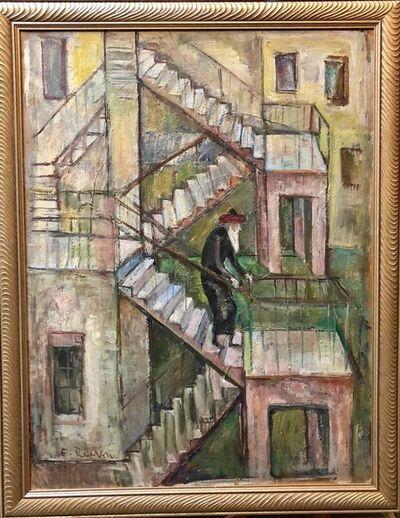Emanuel Romano, 'Large Modernist Oil Painting 1940s, Judaica Hasidic rabbi in Jerusalem', 1930-1939
