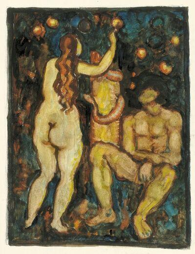 Alfons Walde, 'Adam and Eve (Seduction of the Devil)', ca. 1913