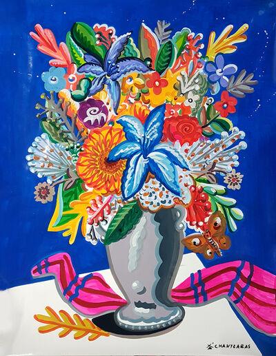 Apostolos Chantzaras, 'Bouquet with Blue Background', 2021