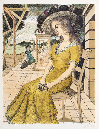 Paul Delvaux, 'Anne Lost in Thoughts ( Anne Songeuse ) (Pensive Anne)', 1966