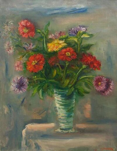 Jacques Zucker, 'Zinnias Colorful Flowers in Vase Oil Painting Ecole D'Paris, WPA, Bezalel Artist', Mid-20th Century