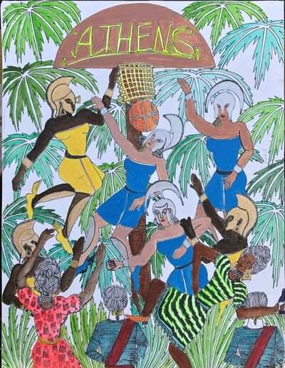 Umar Rashid (Frohawk Two Feathers), 'Colonial Origins of the NBA Classic #2 (Athens)', 2019