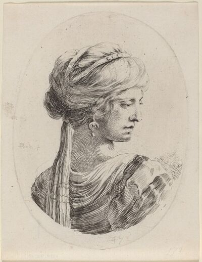 Stefano Della Bella, 'Sultaness in a Veiled Turban, Seen from Behind', 1649/1650