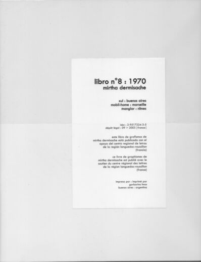 Mirtha Dermisache, 'Libro Nº 8', 1970/2003