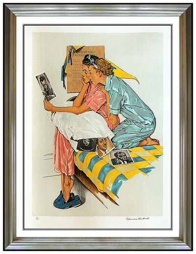 Norman Rockwell, 'Norman Rockwell Saturday Evening Post Lithograph Hand Signed Dreamboats Artwork', 1938