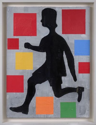 Donald Baechler, 'Five Color Abstraction with Running Figure', 2004