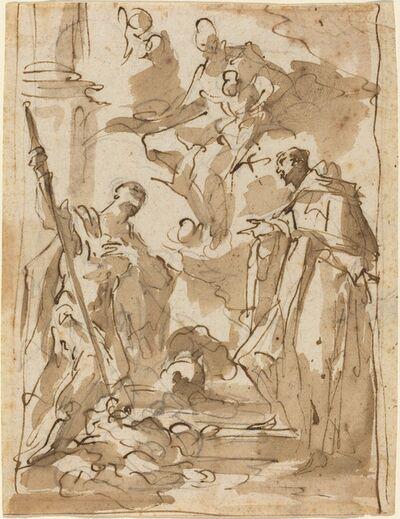 Giovanni Antonio Pellegrini, 'The Madonna and Child Appearing to Saint Theodore and a Monastic Saint'