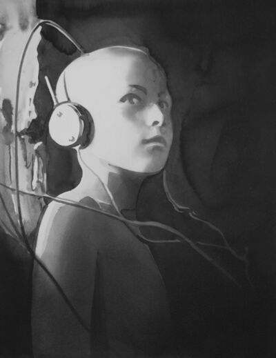 Radenko Milak, 'HUNGARY. Town of Debrecen. Child listening to Radio Budapest, on a self-made radio receiver. 1947', 2019