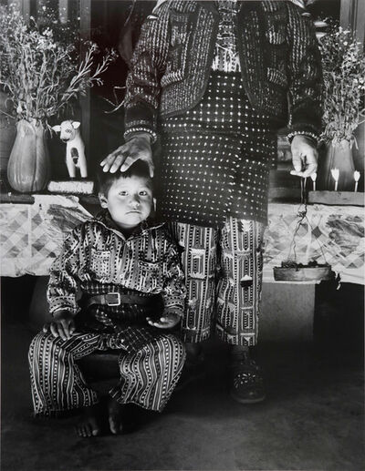 Flor Garduño, 'Member of A Confraternity and Son, Solola, Guatemala', 1989