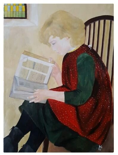 Manfred Alfons Urban, 'Girl is flipping through a book', 2017