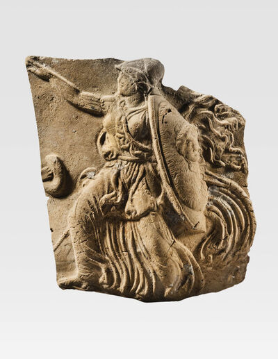 Unknown Greek, 'Ancient Tarantine Terracotta Plaque with Fighting Athena', Greek, South Italian, Tarantine, 4th century B.C.