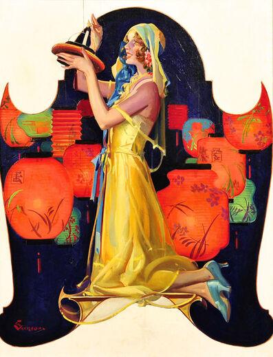 Elbert McGran Jackson, 'Woman Kneeling With Japanese Lanterns', 20th Century