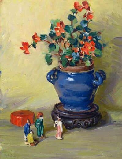 Mabel Woodward, 'Still Life - Begonia and Figurines', 19th -20th Century