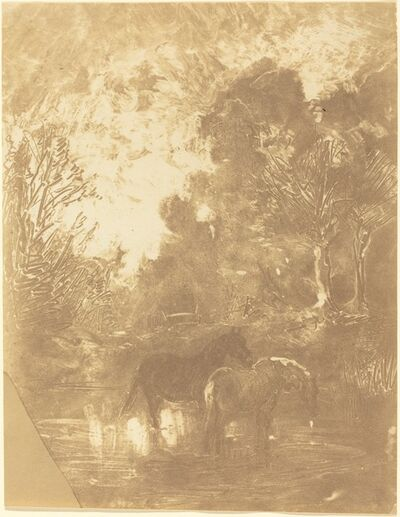 Charles François Daubigny, 'Two Horses at a Watering Place (Les Deux chevaux a l'abreuvoir)', ca. 1859/1862