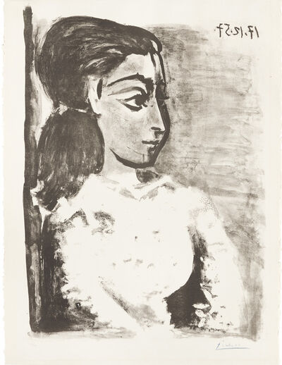 Pablo Picasso, 'Bust of a Woman with White Bodice, Jacqueline in Profile', 1957