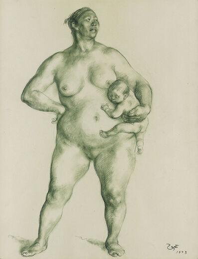 Francisco Zúñiga, 'Mujer desnuda y niñ0.', 1973