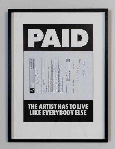 Billy Apple, 'Paid: The Artist Has to Live Like Everybody Else, Auckland Art Gallery Conservation Services, 2000', 1995/2018