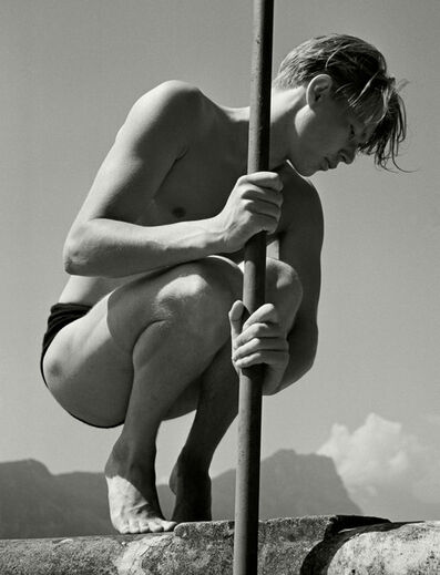 Herbert List, 'Lake Lucerne (Lac des Quatre-Cantons). Ritti with fishing rod.', 1937