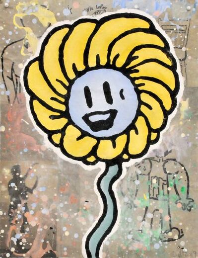 Donald Baechler, 'Yellow + Blue (Face)', 2019