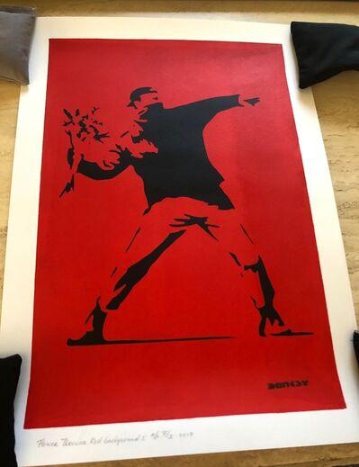 After Banksy, 'Flower Thrower Red Background I', 2018