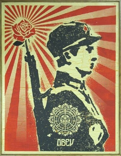 Shepard Fairey (OBEY), 'Rose Soldier on Wood', 2006