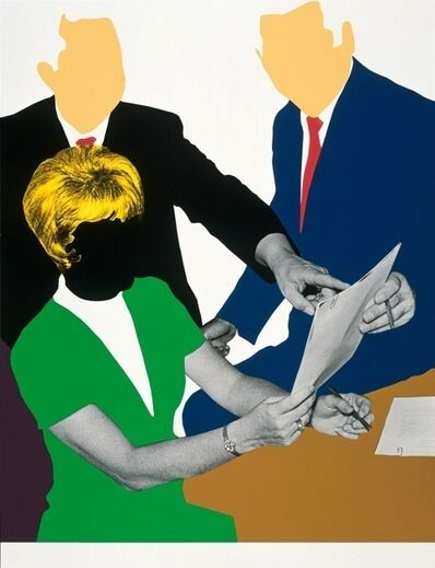 John Baldessari, 'Three Government Personnel (One Blonde) Considering and/or Deciding', 2008