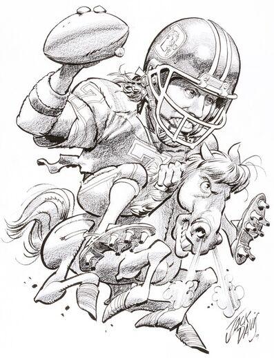 Jack Davis, 'Denver Broncos John Elway NFL Football Illustration; Original Art', 1990