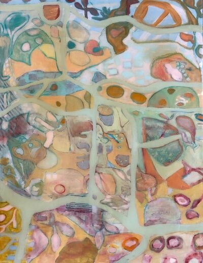 """Anne Harney, '""""Flora Fauna"""" abstract multi-colored mixed media painting ', 2019"""
