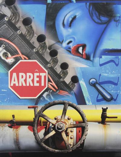 Peter Klasen, 'visage bleu/volant - manette bleue/ arret', 2011