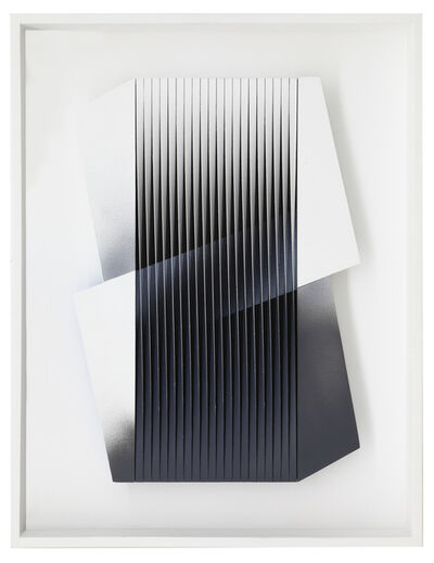 Alberto Biasi, 'Bianco e nero abbracciati', 2014