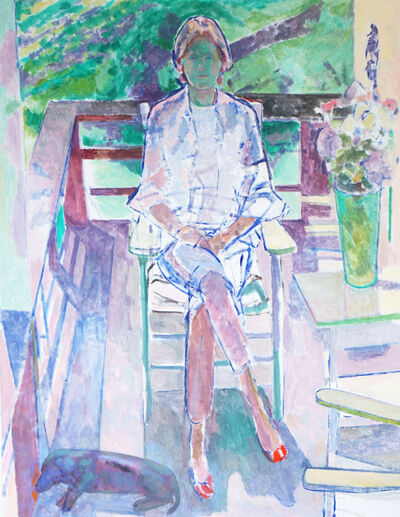Reeve Schley, 'Georgie with Deck Chairs and Dachshund', 2015