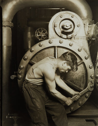Lewis Wickes Hine, 'Mechanic at Steam Pump in Electric Power House', circa 1921-printed circa 1930