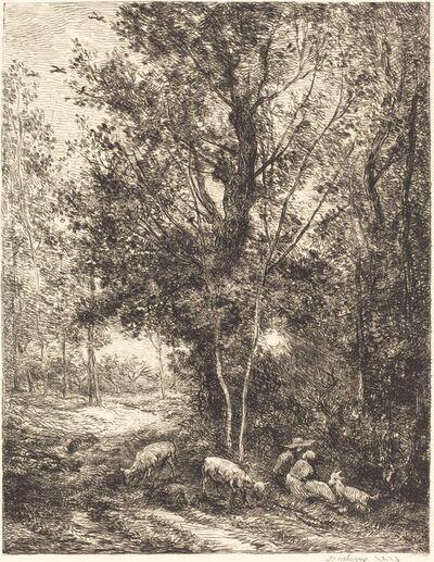 Charles François Daubigny, 'Shepherd and Shepherdess (Le Berger et la bergere)', 1874