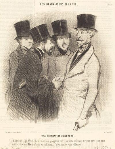 Honoré Daumier, 'Une Réparation d'honneur', 1845