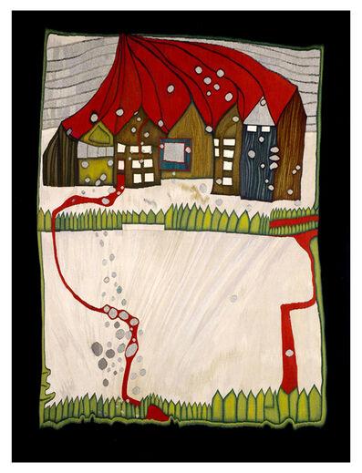 Friedensreich Hundertwasser, 'HÄUSER IM SCHNEE IM SILBERREGEN MIT ROTEM WEG', 1976