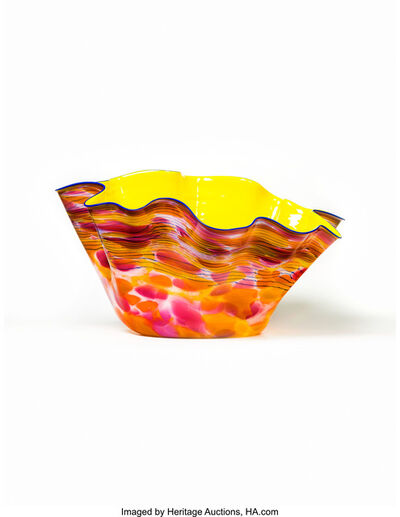 Dale Chihuly, 'Large Cadmium Yellow Macchia Bowl with Lapis Lip Wrap', 1988